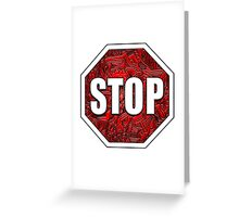 STOP Sign Octagon Bold Beveled Artistic Zen Doodle RED WHITE Greeting Card
