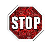 STOP Sign Octagon Bold Beveled Artistic Zen Doodle RED WHITE Photographic Print