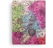 Geometric Abstract Watercolor and Line Drawing Canvas Print