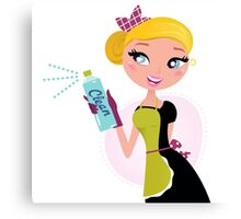 Stylish vintage blond girl for cleaning Service Canvas Print