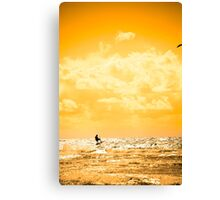 extreme kite surfer jumping waves Canvas Print