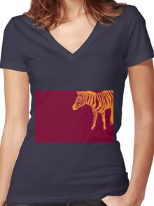 Drawing of a zebra. Illustration Women's Fitted V-Neck T-Shirt