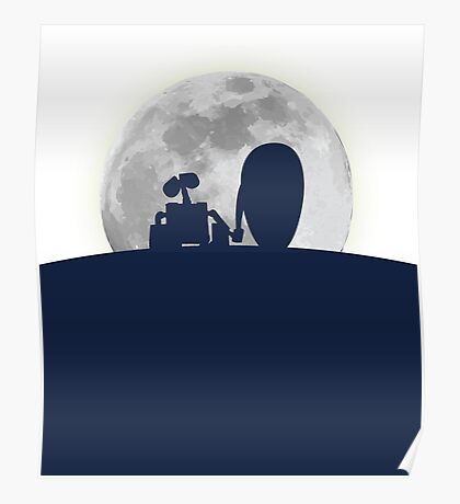 Wall•E and EVE in the Moonlight, Awwwww. Poster
