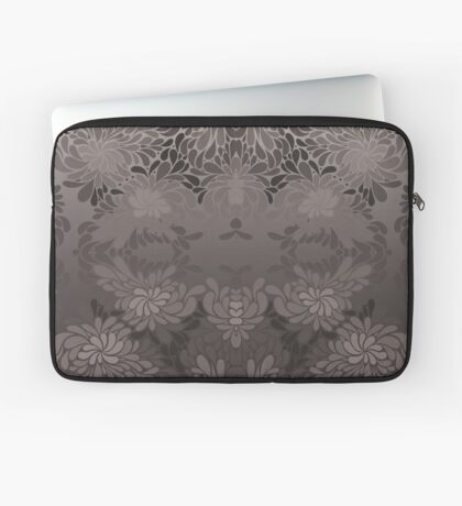 Grayscale Vintage Floral Pattern Laptop Sleeve