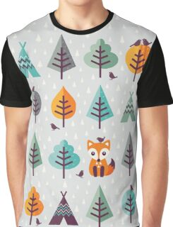 Fox in the Forest - on Gray Graphic T-Shirt