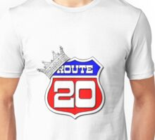 Longest Road In The US Crown on Route 20 Sign Unisex T-Shirt