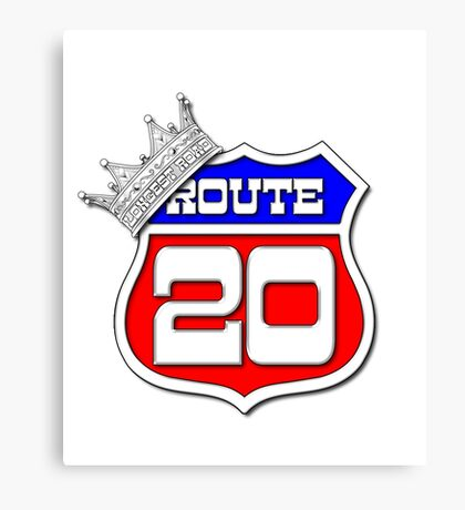 Longest Road In The US Crown on Route 20 Sign Canvas Print