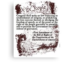 FIRST Amendment US Constitution Bill of Rights Canvas Print