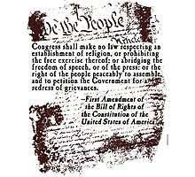 FIRST Amendment US Constitution Bill of Rights Photographic Print