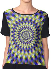 Concentric Rings in Blue and Yellow Chiffon Top