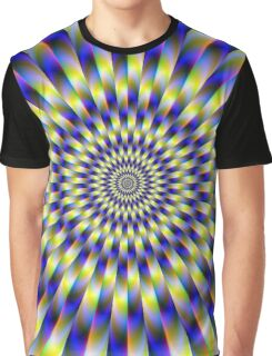 Concentric Rings in Blue and Yellow Graphic T-Shirt