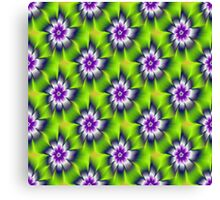 Green Blue and Violet Daisy Flower tiled Canvas Print