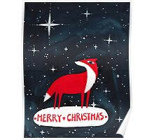 Merry Christmas! - 2, Fox and starry night Poster