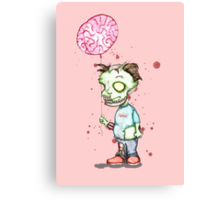 Zombie boy with Brain Balloon Canvas Print