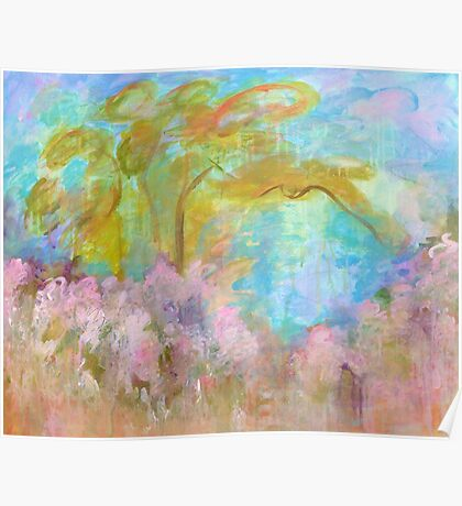 Abstract Landscape Painting Tree Flowers Poster