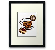 tea cup and cookies Framed Print