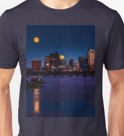Rising super moon in Boston. Unisex T-Shirt