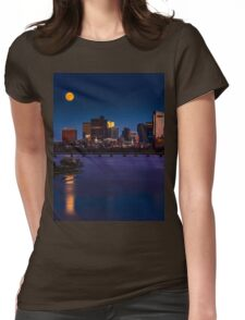 Rising super moon in Boston. Womens Fitted T-Shirt