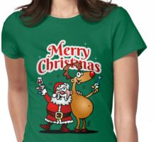 Merry Christmas - Santa Claus and his Reindeer Womens Fitted T-Shirt