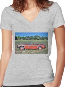 MG B Roadster Women's Fitted V-Neck T-Shirt