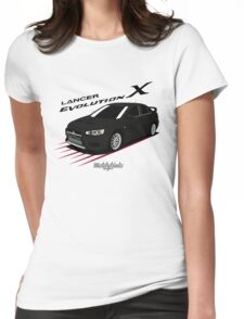 Mitsubishi Lancer Evolution X (black) Womens Fitted T-Shirt
