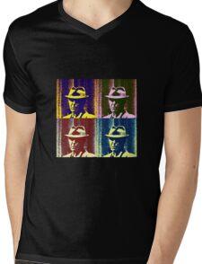 Leonard Cohen Portrait Pop Art Style Mens V-Neck T-Shirt