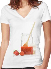 Homemade strawberry jam Women's Fitted V-Neck T-Shirt