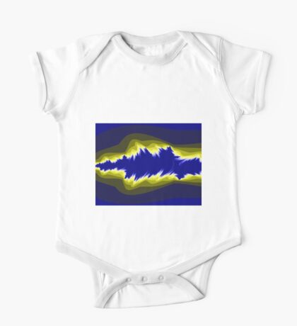 Yellow and blue fractals One Piece - Short Sleeve