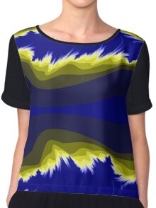 Yellow and blue fractals Chiffon Top