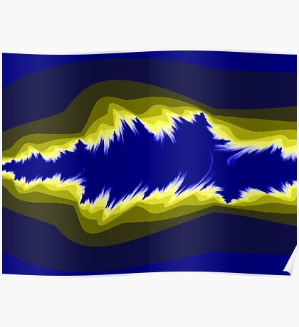 Yellow and blue fractals Poster