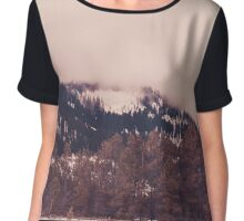 Stormy, Snowy, Forest Panorama Chiffon Top