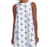 Blue Snowflake A-Line Dress