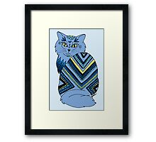 Decorated Blue Kitty Framed Print