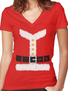 Santa Claus Red Christmas Costume Outfit Women's Fitted V-Neck T-Shirt