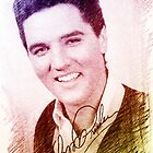 Elvis 60s color pencil digital sketch.  Portrait digital art.  by naturematters