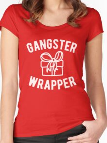 Gangster Wrapper Funny Christmas Women's Fitted Scoop T-Shirt
