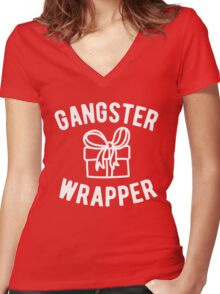 Gangster Wrapper Funny Christmas Women's Fitted V-Neck T-Shirt