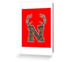 Nebraska Hunting Club Big Deer Rack Camouflage Pride Greeting Card