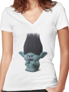 Trolls Branch  Women's Fitted V-Neck T-Shirt