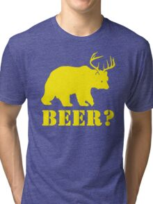 Beer T-Shirt Bear Plus Deer Funny TEE Drinking College Humor Party Shirt Tri-blend T-Shirt