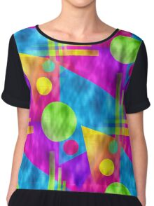 Retro-Seamless 80s-Style Abstracts Chiffon Top