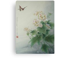 Chinese Flower With Butterfly Canvas Print