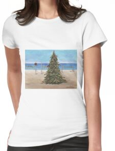 Christmas Tree at the Beach Womens Fitted T-Shirt