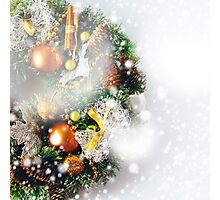 Christmas wreath composition on white Photographic Print
