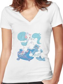 Popplio and Evolutions Women's Fitted V-Neck T-Shirt