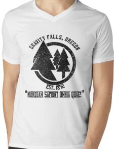 Gravity Falls Town Emblem & Motto Mens V-Neck T-Shirt