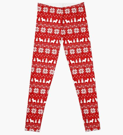 Westie Silhouettes Christmas Sweater Pattern Leggings