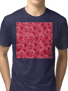 Red watercolor flowers seamless pattern, floral print Tri-blend T-Shirt