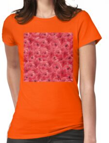 Red watercolor flowers seamless pattern, floral print Womens Fitted T-Shirt