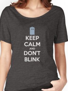 Keep Calm And Don't Blink ver.Tardisblue Women's Relaxed Fit T-Shirt